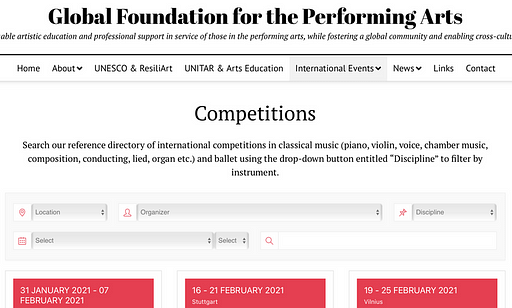 International Competitions Search Bar